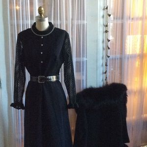 VINTAGE 70s PURITAN FOREVER YOUNG BLACK MAXI DRESS